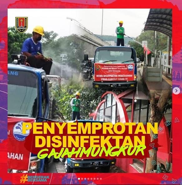 PDAM Tirta Moedal Kota Semarang Gencarkan Penyemprotan  Disinfektan